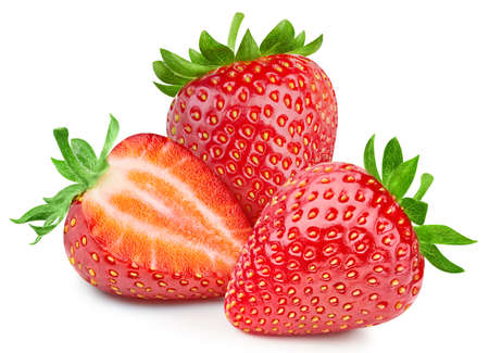 Fresh strawberry isolated on white background. Ripe natural strawberry clipping path.