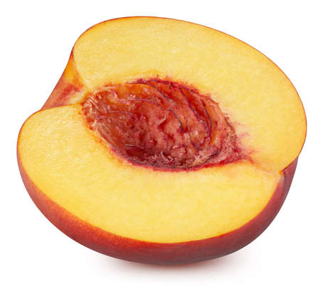 Organic peach half isolated on white background. Taste peach slice with clipping path