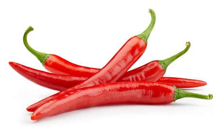 Peppers chili full macro shoot food ingredient on white isolated. Zdjęcie Seryjne