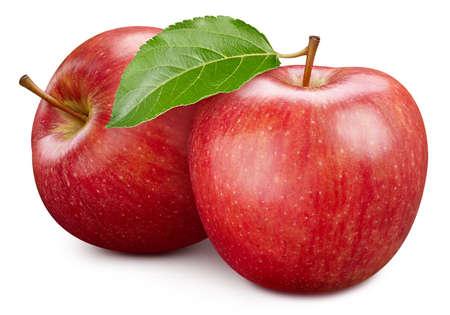 Ripe apple fruit with apple leaf on white background.