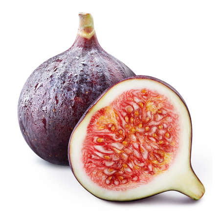 Fig fruit with half isolated on white background. Full depth of field. Standard-Bild
