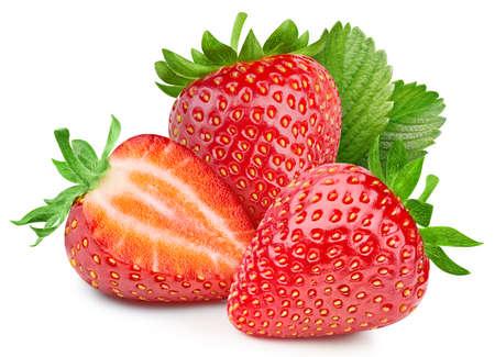 Organic strawberry isolated on white background. Taste strawberry with leaf Standard-Bild
