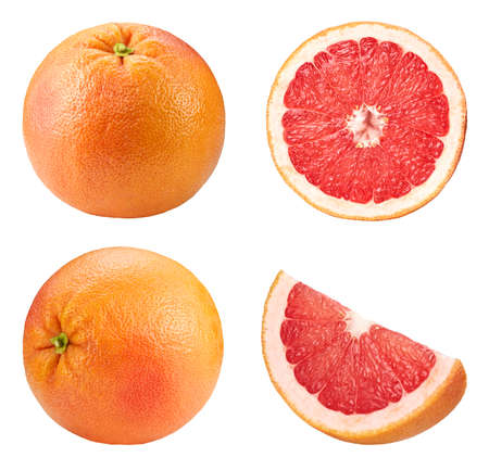 Grapefruit collection isolated on white background.