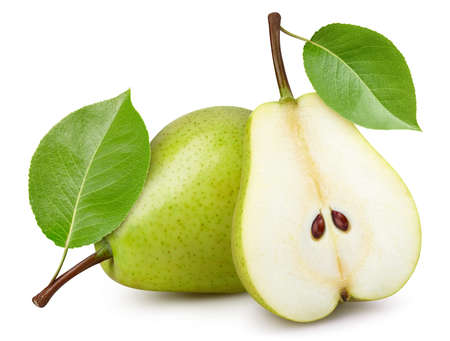 Ripe pear with leaves. Organic pear isolated on white background. Taste pear with leaf. Archivio Fotografico