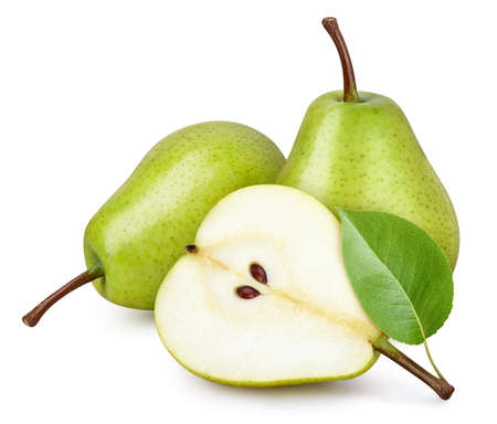 Pear fruit with pear leaf isolated on white background.