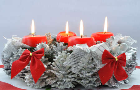 Christmas decoration with burning candles Stock Photo