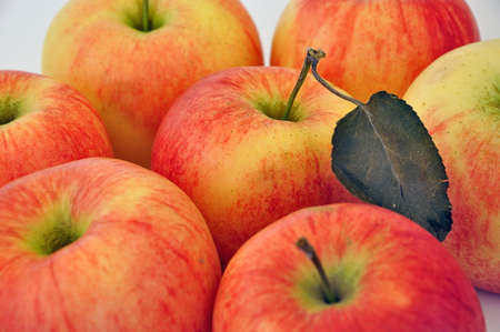 lots of ripe and  red apples Stock Photo