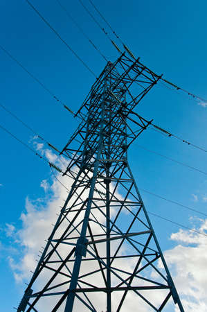 Electrical tower on blue sky background
