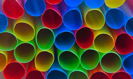 many colorful close-up straws  Stock Photo