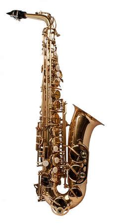 楽器: 白い背景の上における saxaphone