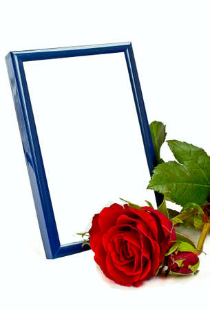 Blue photo frame with red rose on the with background