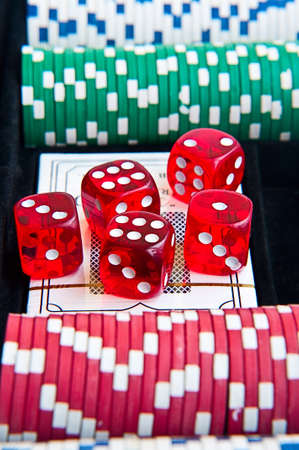 dice poker chips in suitcase