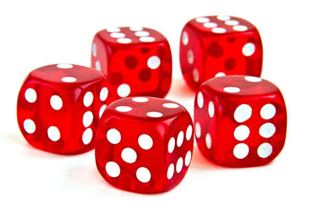 Five red playing dice on the white background