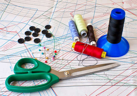 different sewing items on the patterns