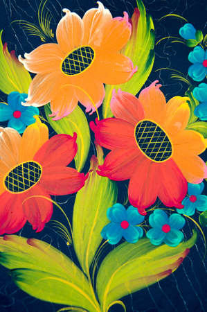 painted colorful flowers on the black background Stock Photo