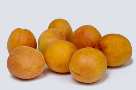 eight apricots on a white background