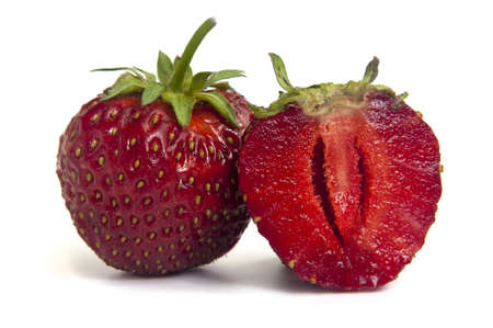 whole strawberries and strawberry halves Stock Photo - 14219956