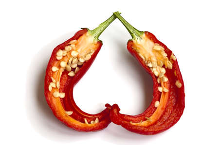 peper: sliced chili pepper with seeds Stock Photo