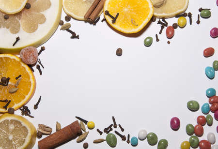 frame made of fruits and sweets Stock Photo - 16220833