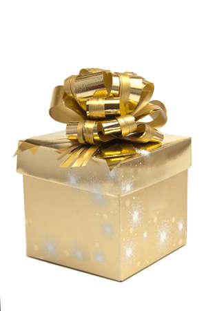 Golden box with ribbon Stock Photo