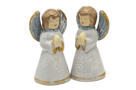 Two angels on a white background