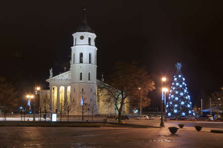 The main square and cathedral with belfry of Vilnius at night time