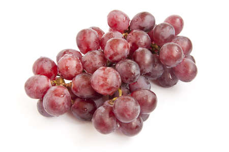 bunch of grapes: bunch of red grapes on white background