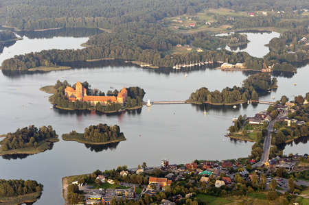 Trakai castle aerial view Stock Photo