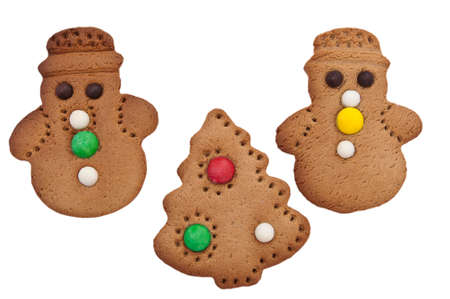 Gingerbread People and Christmas tree on a white background