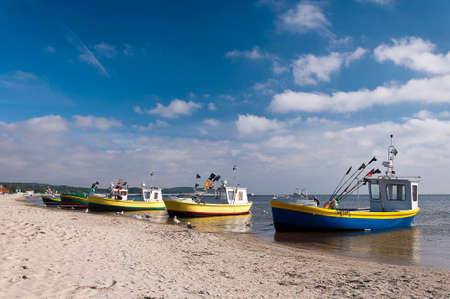 fishing boats on the shore of the Baltic Sea Stock Photo