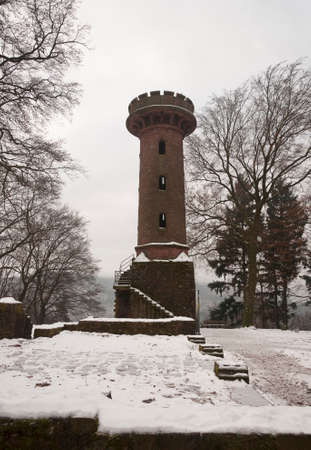 ancient tower in Heidelberg in winter Stock Photo