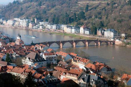Bridge on the River Neckar in Heidelberg Stock Photo