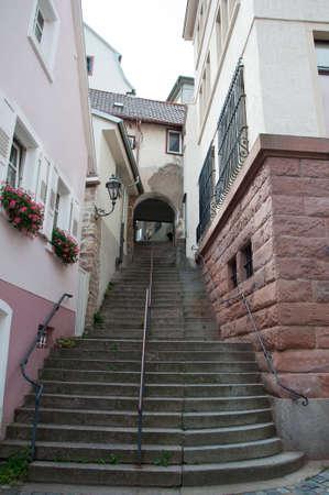 stone staircase to the street Stock Photo