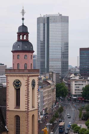 Frankfurt skyline and church Editorial