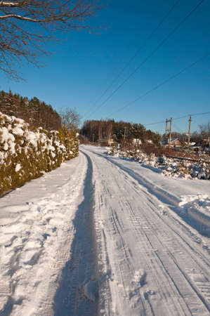 winter road on a sunny day Stock Photo