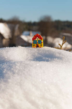 toy house: toy house on the snow day