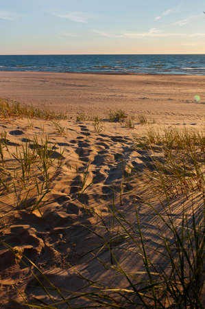 Exit from the dunes to the Baltic Sea Stock Photo