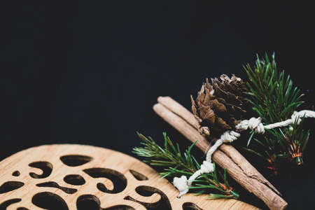 Rustic Christmas wooden heart with copy space.