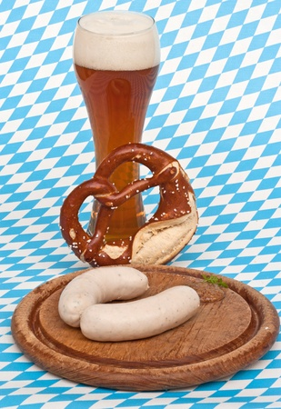 weisswurst: Weisswurst is a traditional Bavarian dish  It is usually served with Pretzel, sweet mustard and Weissbier