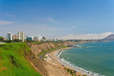 miraflores district: Coastline in Lima, Peru
