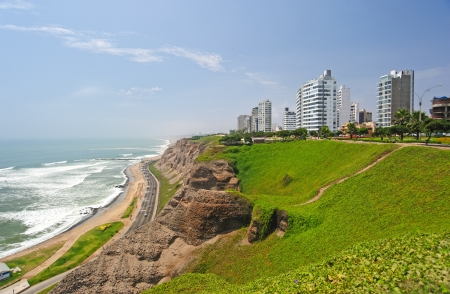 peru architecture: Costa verde (green coast) in Lima, Peru, district of Miraflores Stock Photo