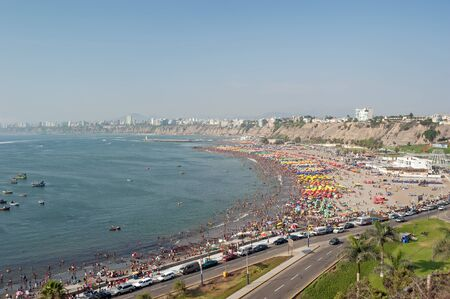 overcrowded: Beach in Lima, Peru Stock Photo