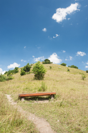 Hill with Bench in the Swabian Jura, Southern Germany