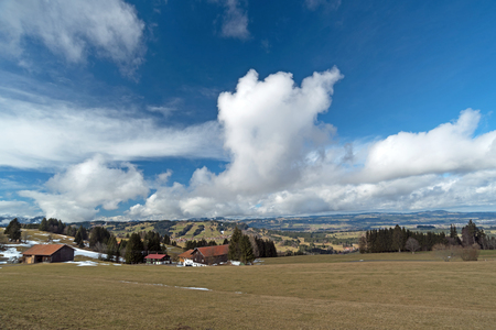 Landscape in Southern Germany with blue clouded sky