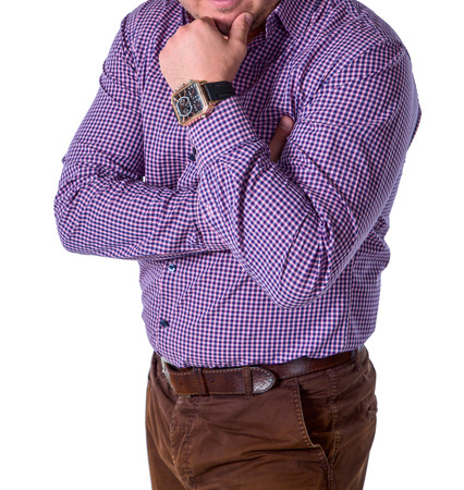 Business man in a plaid shirt with a clock. On an isolated white background.