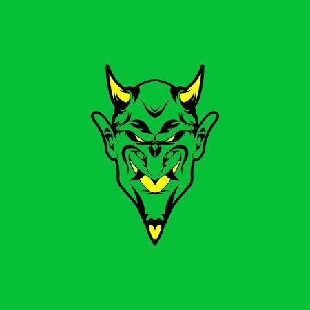 Green Head Devil Illustration, Devil Head with Green Background, Devil with Horn Векторная Иллюстрация