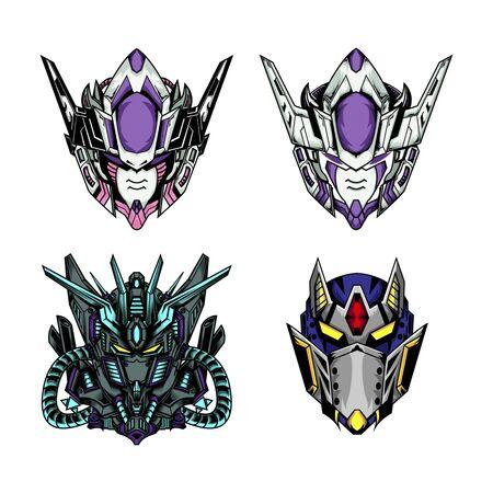 Robot Head Collection, mecha head illustration for gaming or esport logo Stock Vector - 143397268