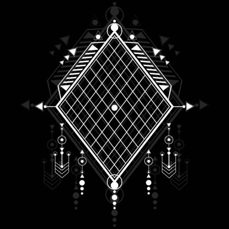 Modern sacred geometric symbols on black background. White linear shapes. You can use for tattoo, print, posters, t-shirts, textiles, background. Illustration