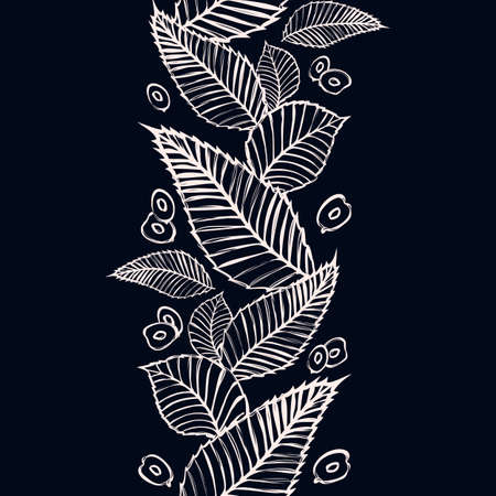 Vector seamless border with beech and elm leaves and seeds. Endless vertical pattern with decorative floral ornament. Chalkboard. Иллюстрация