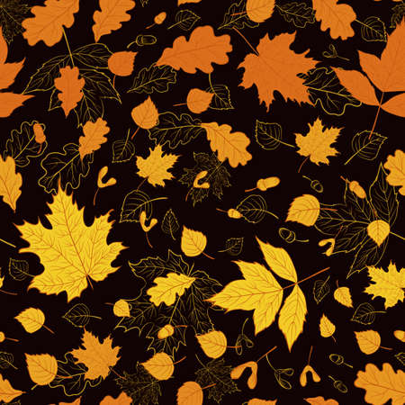 Vector floral pattern with gold autumn leaves on black background for season design. Seamless floral texture. Backdrop.